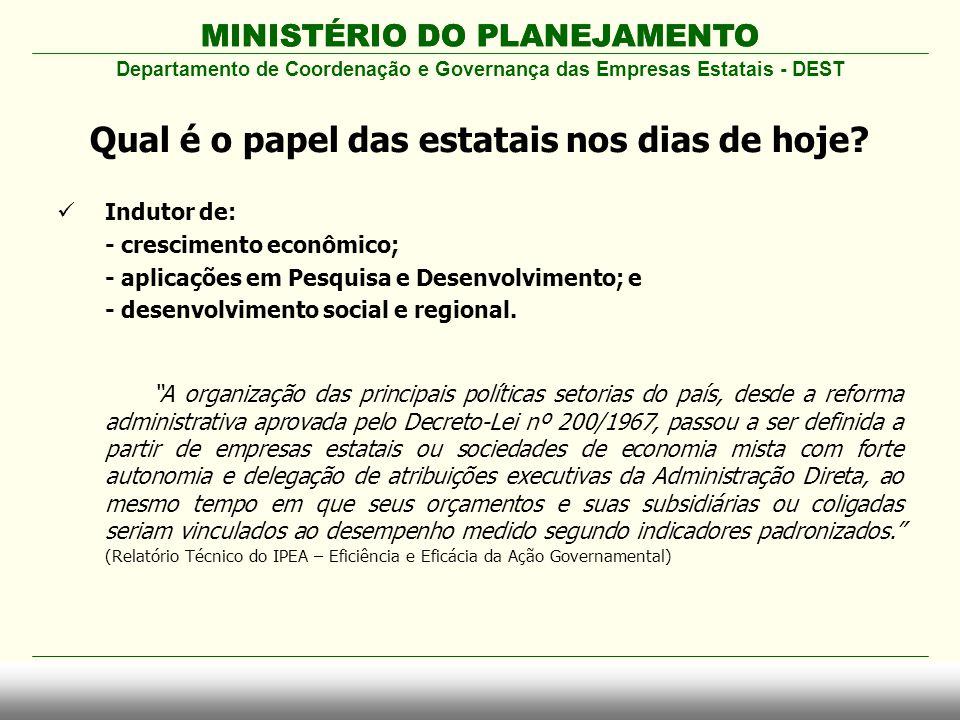 """MINISTÉRIO DO PLANEJAMENTO  Indutor de: - crescimento econômico; - aplicações em Pesquisa e Desenvolvimento; e - desenvolvimento social e regional. """""""