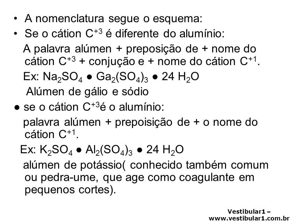 Vestibular1 – www.vestibular1.com.br •A nomenclatura segue o esquema: •Se o cátion C +3 é diferente do alumínio: A palavra alúmen + preposição de + no