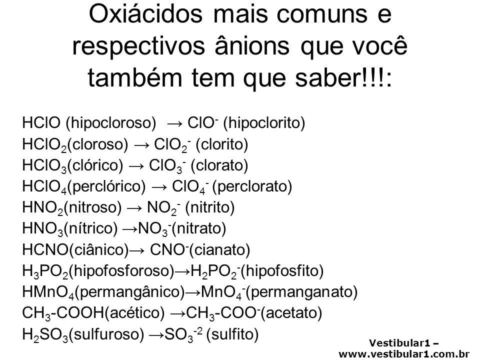 Vestibular1 – www.vestibular1.com.br Oxiácidos mais comuns e respectivos ânions que você também tem que saber!!!: HClO (hipocloroso) → ClO - (hipoclor