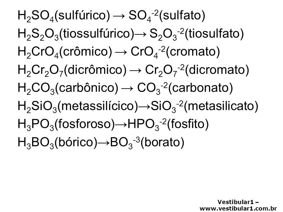 Vestibular1 – www.vestibular1.com.br H 2 SO 4 (sulfúrico) → SO 4 -2 (sulfato) H 2 S 2 O 3 (tiossulfúrico)→ S 2 O 3 -2 (tiosulfato) H 2 CrO 4 (crômico)