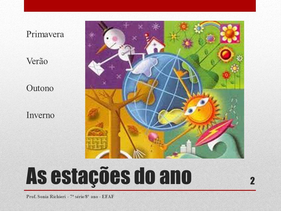 As estações do ano Primavera Verão Outono Inverno Prof. Sonia Richieri - 7ª série/8º ano - EFAF 2