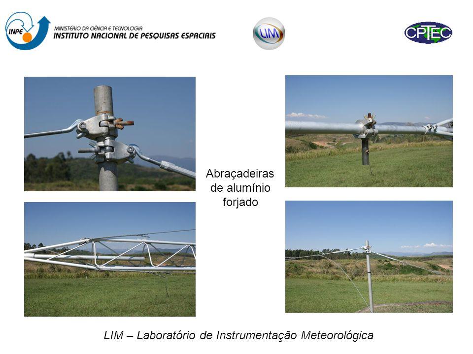 LIM – Laboratório de Instrumentação Meteorológica Além dos estais, a torre ficará apoiada em 2 berços de aço galvanizado para minimizar o efeito do balanço provocado por ventos fortes.