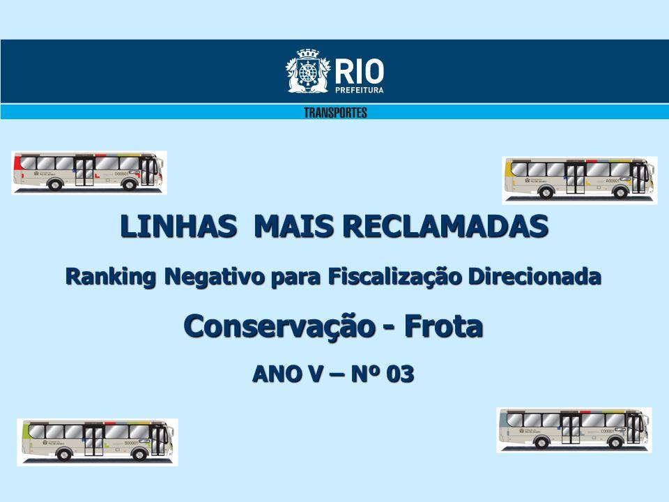 LINHAS MAIS RECLAMADAS Ranking Negativo para Fiscalização Direcionada Conservação - Frota ANO V – Nº 03