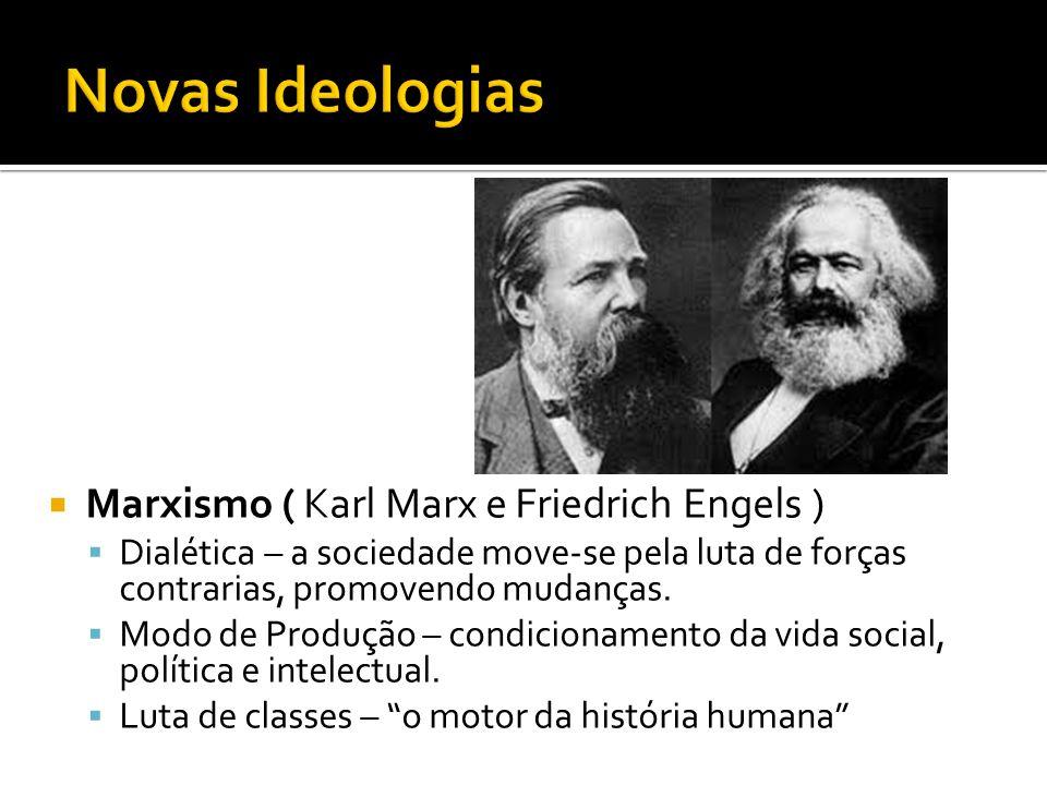  Marxismo ( Karl Marx e Friedrich Engels )  Dialética – a sociedade move-se pela luta de forças contrarias, promovendo mudanças.  Modo de Produção