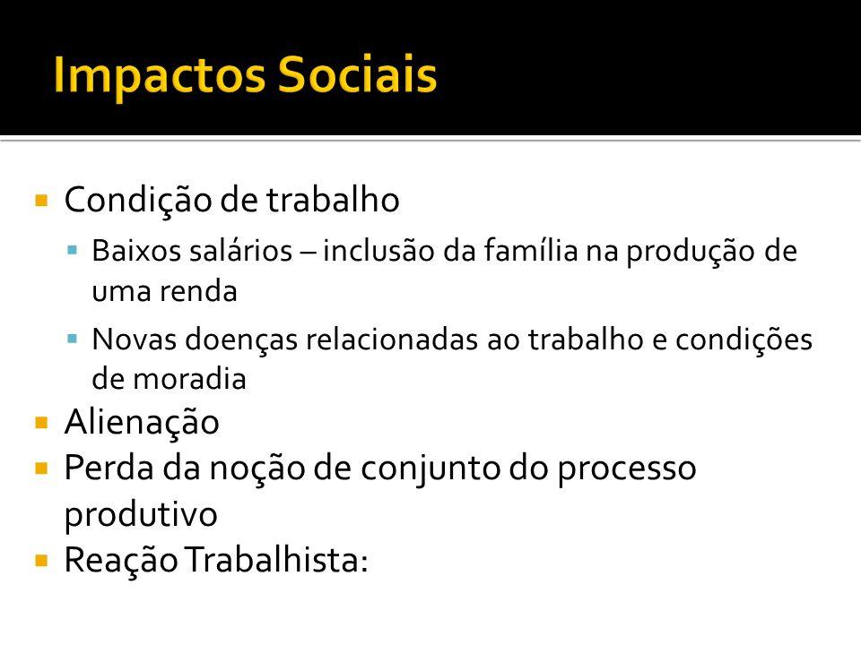  Condição de trabalho  Baixos salários – inclusão da família na produção de uma renda  Novas doenças relacionadas ao trabalho e condições de moradi