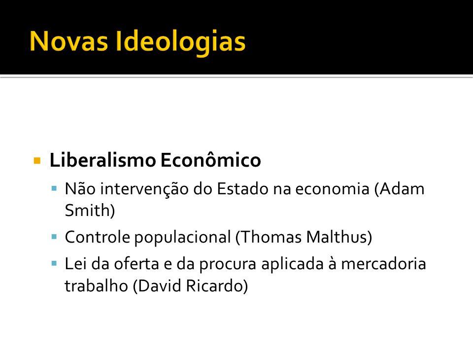  Liberalismo Econômico  Não intervenção do Estado na economia (Adam Smith)  Controle populacional (Thomas Malthus)  Lei da oferta e da procura apl