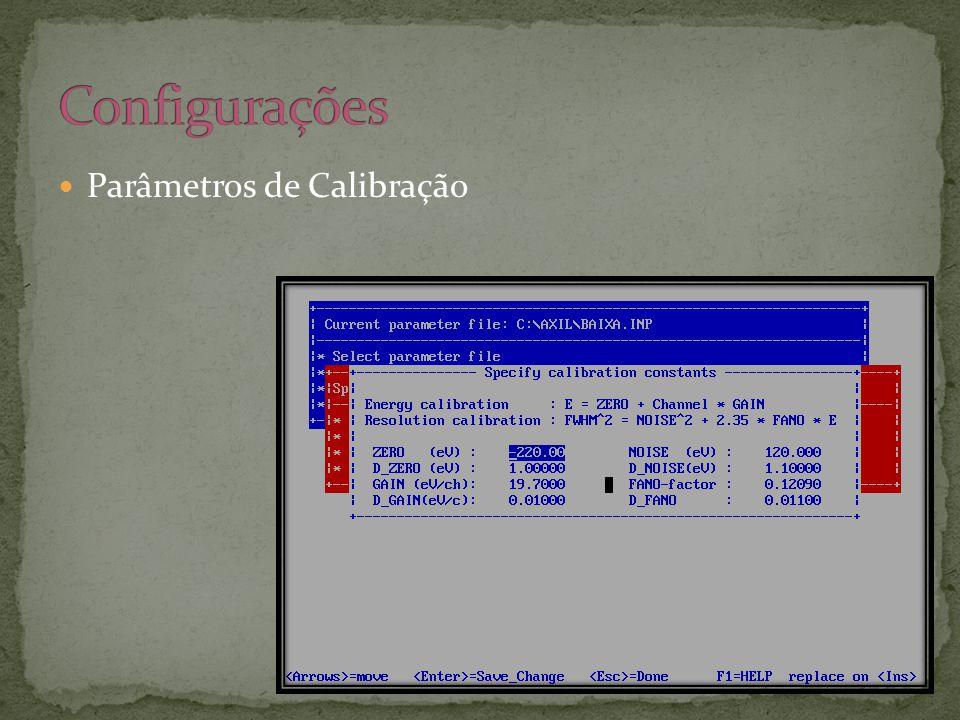  Parâmetros de Calibração