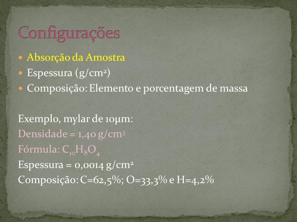  Absorção da Amostra  Espessura (g/cm 2 )  Composição: Elemento e porcentagem de massa Exemplo, mylar de 10μm: Densidade = 1,40 g/cm 3 Fórmula: C 10 H 8 O 4 Espessura = 0,0014 g/cm 2 Composição: C=62,5%; O=33,3% e H=4,2%