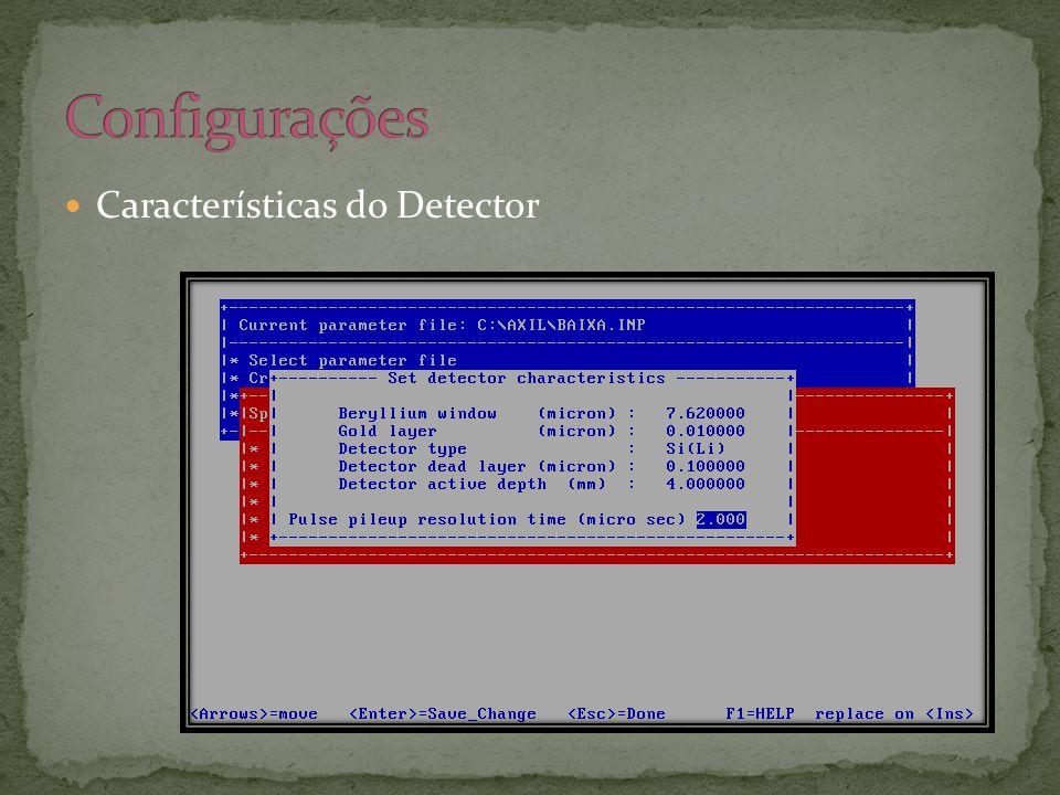  Características do Detector