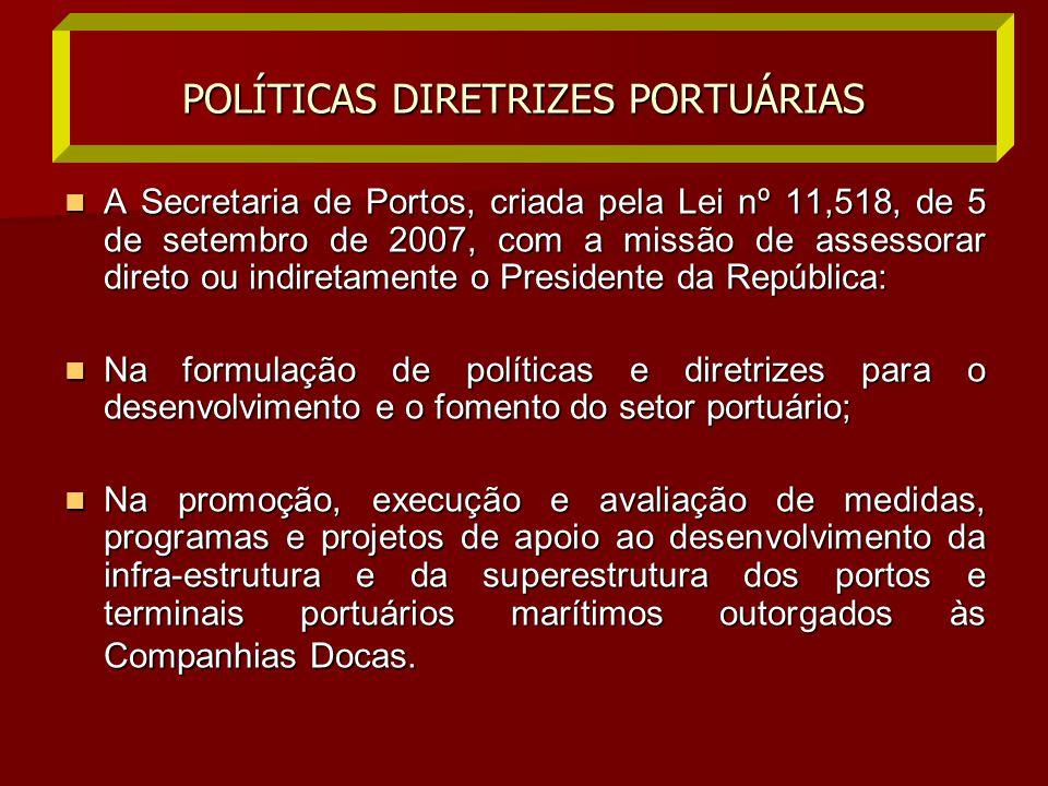  A Secretaria de Portos, criada pela Lei nº 11,518, de 5 de setembro de 2007, com a missão de assessorar direto ou indiretamente o Presidente da Repú
