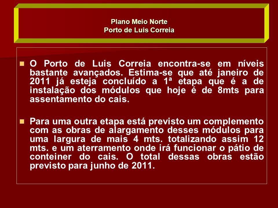   O Porto de Luis Correia encontra-se em níveis bastante avançados. Estima-se que até janeiro de 2011 já esteja concluído a 1ª etapa que é a de inst