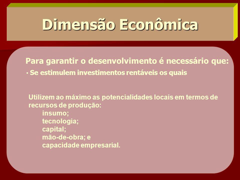 Dimensão Econômica Para garantir o desenvolvimento é necessário que: • Se estimulem investimentos rentáveis os quais Utilizem ao máximo as potencialid