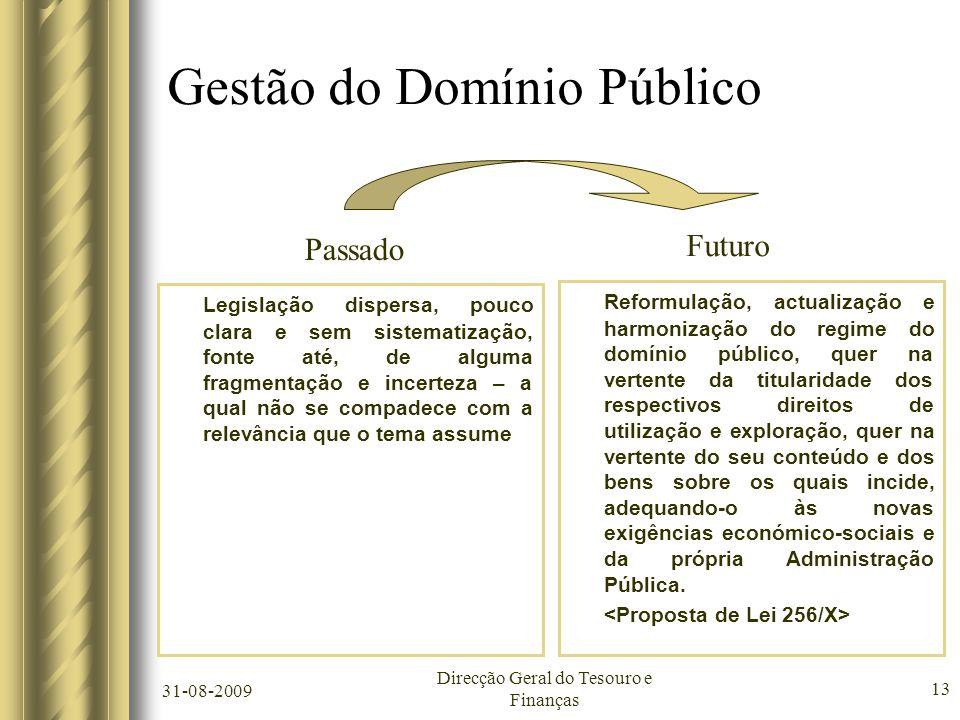 31-08-2009 Direcção Geral do Tesouro e Finanças 13 Gestão do Domínio Público Legislação dispersa, pouco clara e sem sistematização, fonte até, de algu