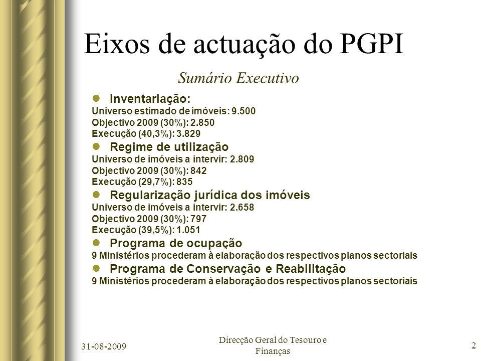 31-08-2009 Direcção Geral do Tesouro e Finanças 2 Eixos de actuação do PGPI  Inventariação: Universo estimado de imóveis: 9.500 Objectivo 2009 (30%): 2.850 Execução (40,3%): 3.829  Regime de utilização Universo de imóveis a intervir: 2.809 Objectivo 2009 (30%): 842 Execução (29,7%): 835  Regularização jurídica dos imóveis Universo de imóveis a intervir: 2.658 Objectivo 2009 (30%): 797 Execução (39,5%): 1.051  Programa de ocupação 9 Ministérios procederam à elaboração dos respectivos planos sectoriais  Programa de Conservação e Reabilitação 9 Ministérios procederam à elaboração dos respectivos planos sectoriais Sumário Executivo