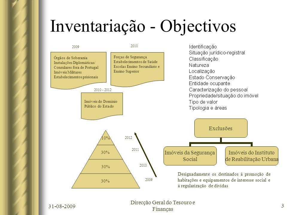 31-08-2009 Direcção Geral do Tesouro e Finanças 3 Inventariação - Objectivos Órgãos de Soberania Instalações Diplomáticas/ Consulares fora de Portugal
