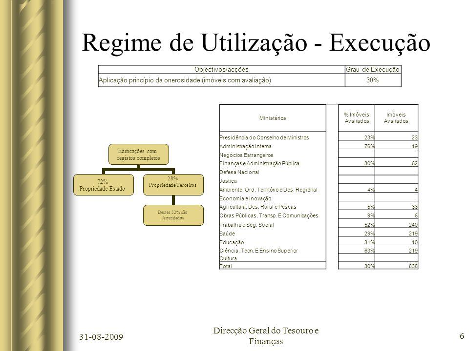 31-08-2009 Direcção Geral do Tesouro e Finanças 6 Regime de Utilização - Execução Edificações com registos completos 72% Propriedade Estado 28% Propri