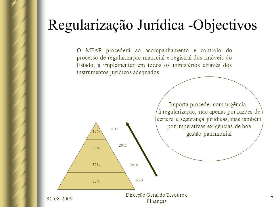 31-08-2009 Direcção Geral do Tesouro e Finanças 7 Regularização Jurídica -Objectivos 2010 2011 2009 2012 O MFAP procederá ao acompanhamento e controlo do processo de regularização matricial e registral dos imóveis do Estado, a implementar em todos os ministérios através dos instrumentos jurídicos adequados Importa proceder com urgência, à regularização, não apenas por razões de certeza e segurança jurídicas, mas também por imperativas exigências de boa gestão patrimonial