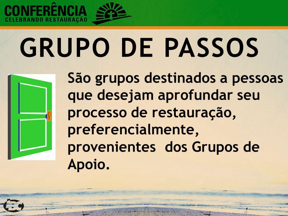 GRUPO DE PASSOS São grupos destinados a pessoas que desejam aprofundar seu processo de restauração, preferencialmente, provenientes dos Grupos de Apoio.