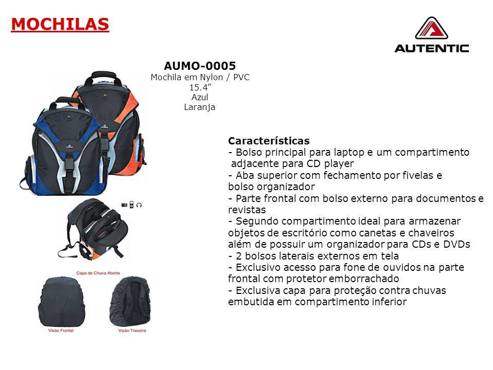 """AUMO-0005 Mochila em Nylon / PVC 15.4"""" Azul Laranja Características - Bolso principal para laptop e um compartimento adjacente para CD player - Aba su"""