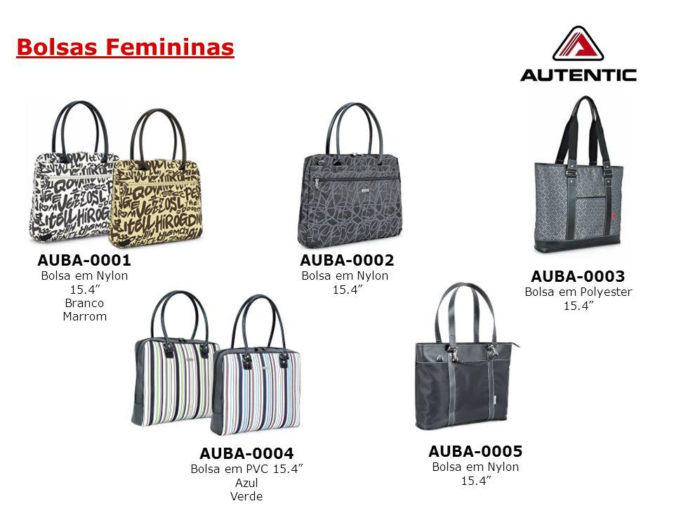 """Bolsas Femininas AUBA-0005 Bolsa em Nylon 15.4"""" AUBA-0002 Bolsa em Nylon 15.4"""" AUBA-0003 Bolsa em Polyester 15.4"""" AUBA-0004 Bolsa em PVC 15.4"""" Azul Ve"""