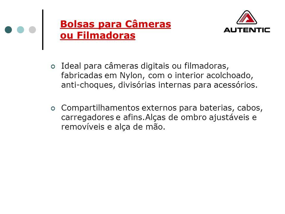 Ideal para câmeras digitais ou filmadoras, fabricadas em Nylon, com o interior acolchoado, anti-choques, divisórias internas para acessórios. Comparti