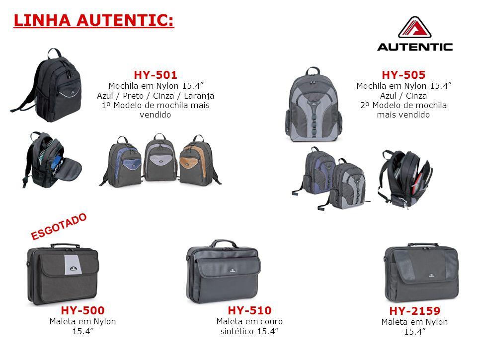"""LINHA AUTENTIC: HY-505 Mochila em Nylon 15.4"""" Azul / Cinza 2º Modelo de mochila mais vendido HY-500 Maleta em Nylon 15.4"""" HY-2159 Maleta em Nylon 15.4"""