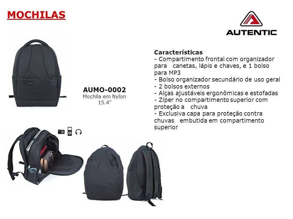 """MOCHILAS AUMO-0002 Mochila em Nylon 15.4"""" Características - Compartimento frontal com organizador para canetas, lápis e chaves, e 1 bolso para MP3 - B"""