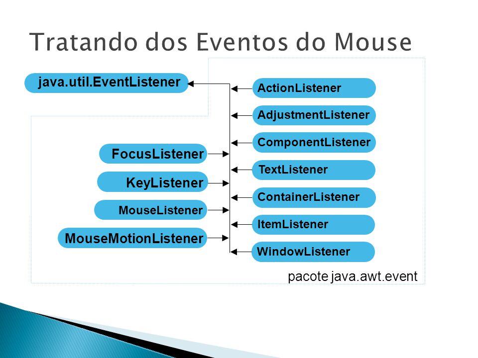 Fred (c) 2000 Java:Swing 10 ActionListener java.util.EventListener AdjustmentListener ComponentListener ContainerListener FocusListener ItemListener KeyListener MouseListener MouseMotionListener TextListener WindowListener pacote java.awt.event