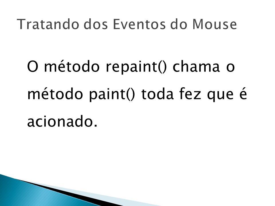 19 O método repaint() chama o método paint() toda fez que é acionado.