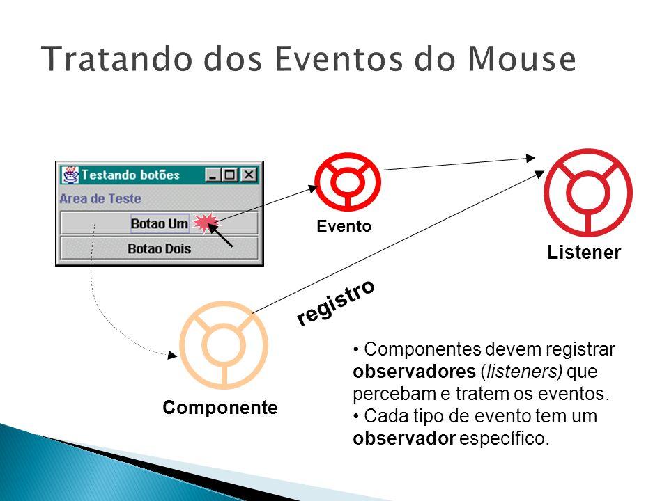 Componente Listener registro Evento • Componentes devem registrar observadores (listeners) que percebam e tratem os eventos.