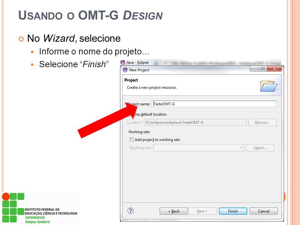 """U SANDO O OMT-G D ESIGN No Wizard, selecione  Informe o nome do projeto...  Selecione """"Finish"""""""