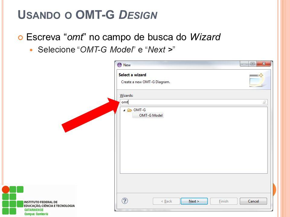 """U SANDO O OMT-G D ESIGN Escreva """"omt"""" no campo de busca do Wizard  Selecione """"OMT-G Model"""" e """"Next >"""""""