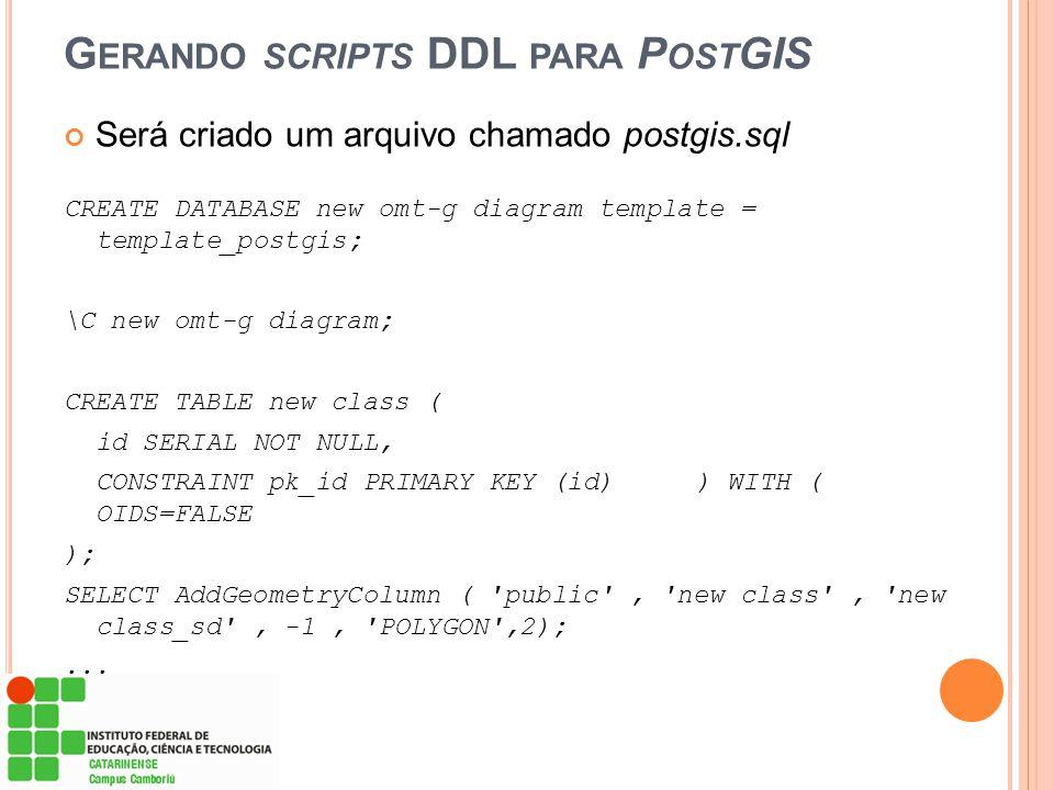 G ERANDO SCRIPTS DDL PARA P OST GIS Será criado um arquivo chamado postgis.sql CREATE DATABASE new omt-g diagram template = template_postgis; \C new o