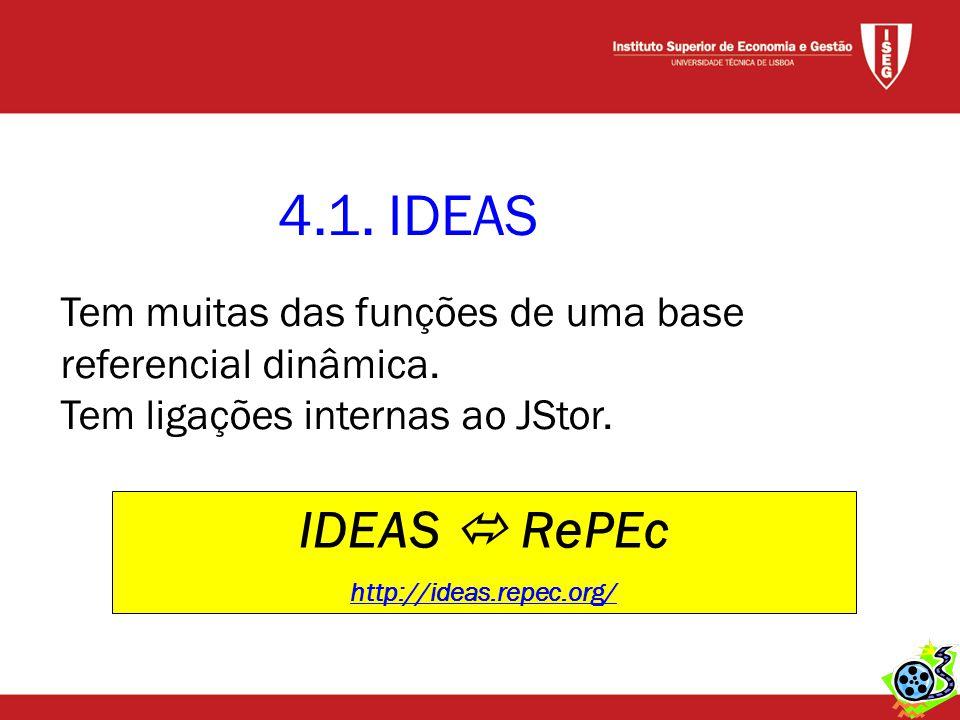 4.1. IDEAS IDEAS  RePEc http://ideas.repec.org/ Tem muitas das funções de uma base referencial dinâmica. Tem ligações internas ao JStor.