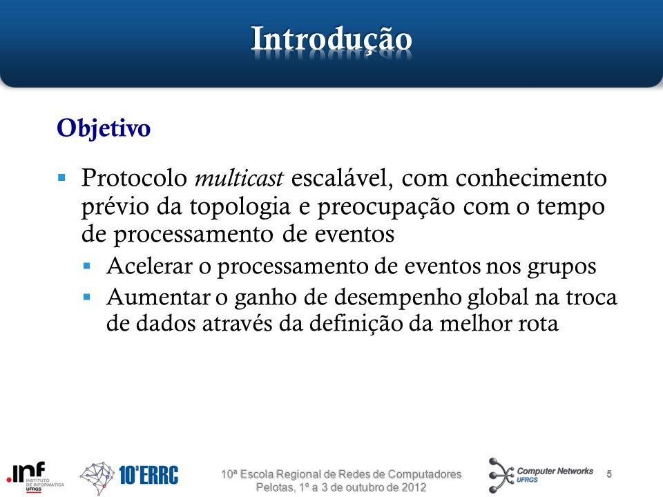 5 Objetivo  Protocolo multicast escalável, com conhecimento prévio da topologia e preocupação com o tempo de processamento de eventos  Acelerar o pr