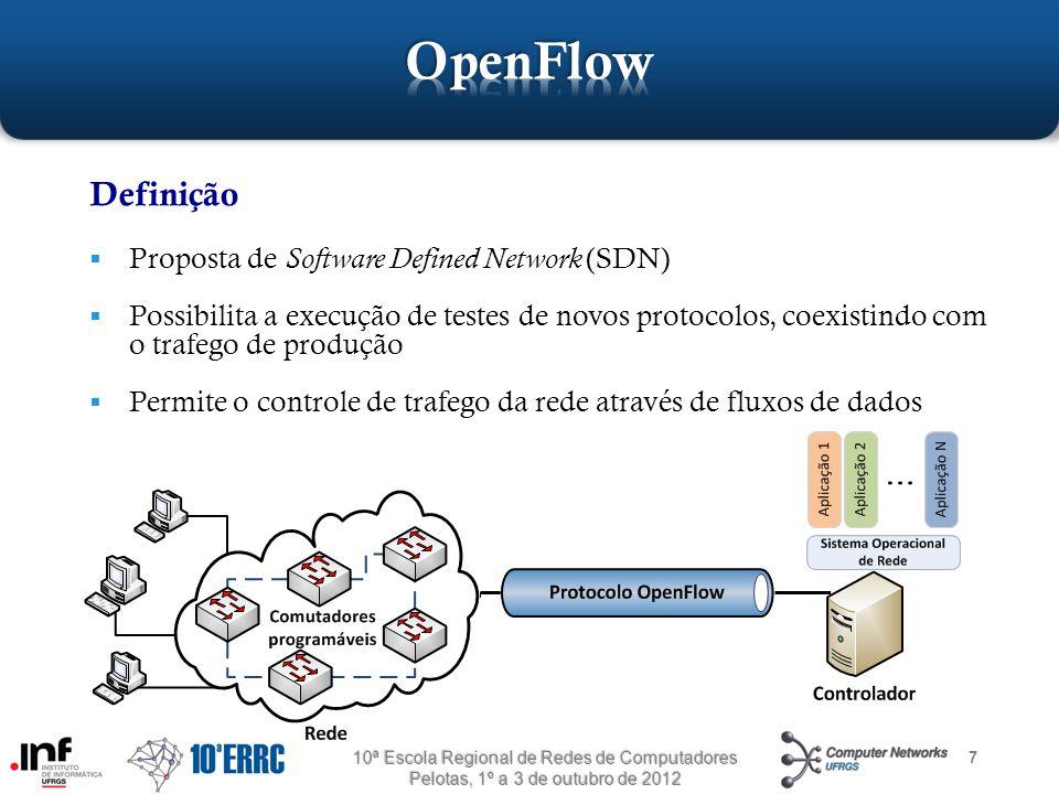 7 Definição  Proposta de Software Defined Network (SDN)  Possibilita a execução de testes de novos protocolos, coexistindo com o trafego de produção