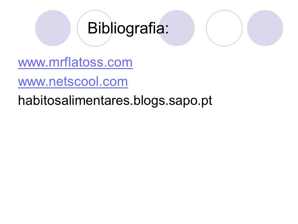 Bibliografia: www.mrflatoss.com www.netscool.com habitosalimentares.blogs.sapo.pt