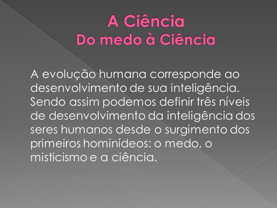 A evolução humana corresponde ao desenvolvimento de sua inteligência. Sendo assim podemos definir três níveis de desenvolvimento da inteligência dos s