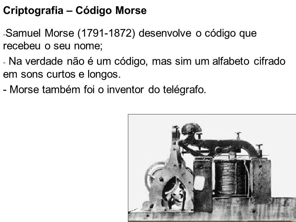 7 Criptografia – Código Morse - Samuel Morse (1791-1872) desenvolve o código que recebeu o seu nome; - Na verdade não é um código, mas sim um alfabeto
