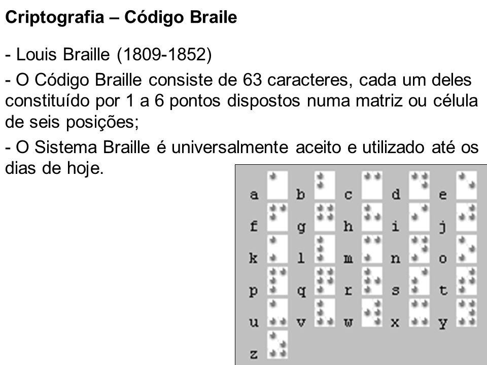 8 Criptografia – Código Braile - Louis Braille (1809-1852) - O Código Braille consiste de 63 caracteres, cada um deles constituído por 1 a 6 pontos di