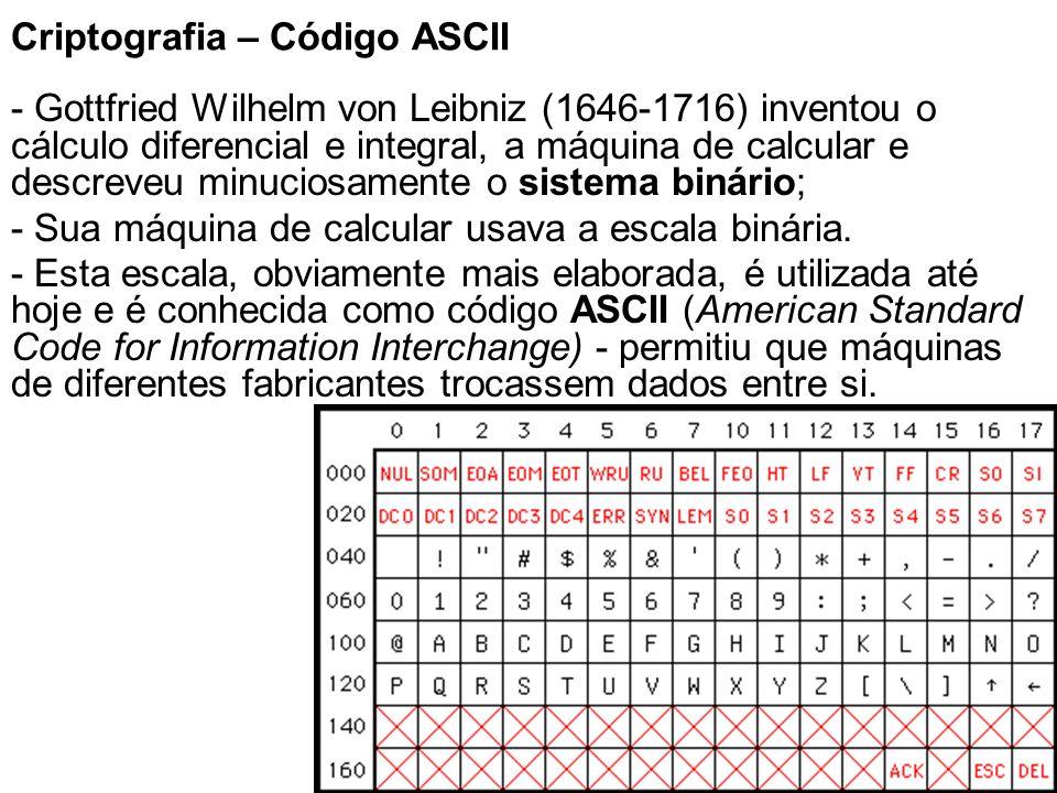 9 Criptografia – Código ASCII - Gottfried Wilhelm von Leibniz (1646-1716) inventou o cálculo diferencial e integral, a máquina de calcular e descreveu