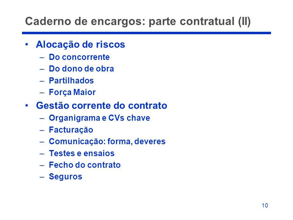 10 Caderno de encargos: parte contratual (II) •Alocação de riscos –Do concorrente –Do dono de obra –Partilhados –Força Maior •Gestão corrente do contr