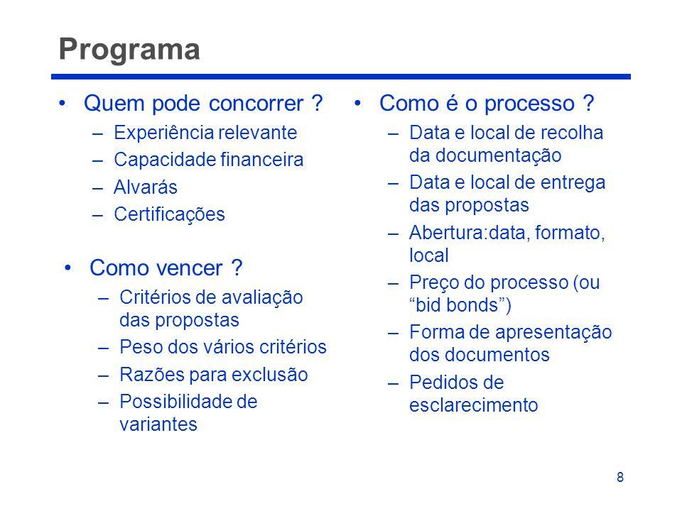 8 Programa •Quem pode concorrer ? –Experiência relevante –Capacidade financeira –Alvarás –Certificações •Como é o processo ? –Data e local de recolha