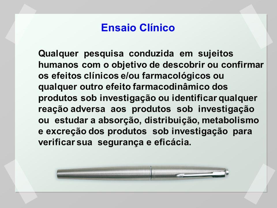 Qualquer pesquisa conduzida em sujeitos humanos com o objetivo de descobrir ou confirmar os efeitos clínicos e/ou farmacológicos ou qualquer outro efe