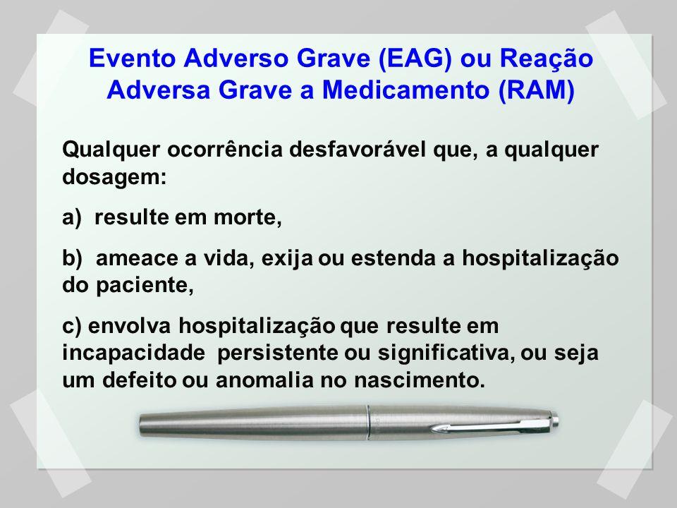 Evento Adverso Grave (EAG) ou Reação Adversa Grave a Medicamento (RAM) Qualquer ocorrência desfavorável que, a qualquer dosagem: a) resulte em morte,