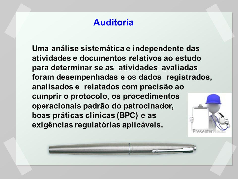 Auditoria Uma análise sistemática e independente das atividades e documentos relativos ao estudo para determinar se as atividades avaliadas foram dese