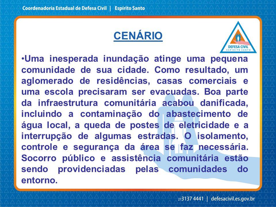 CENÁRIO •Uma inesperada inundação atinge uma pequena comunidade de sua cidade.