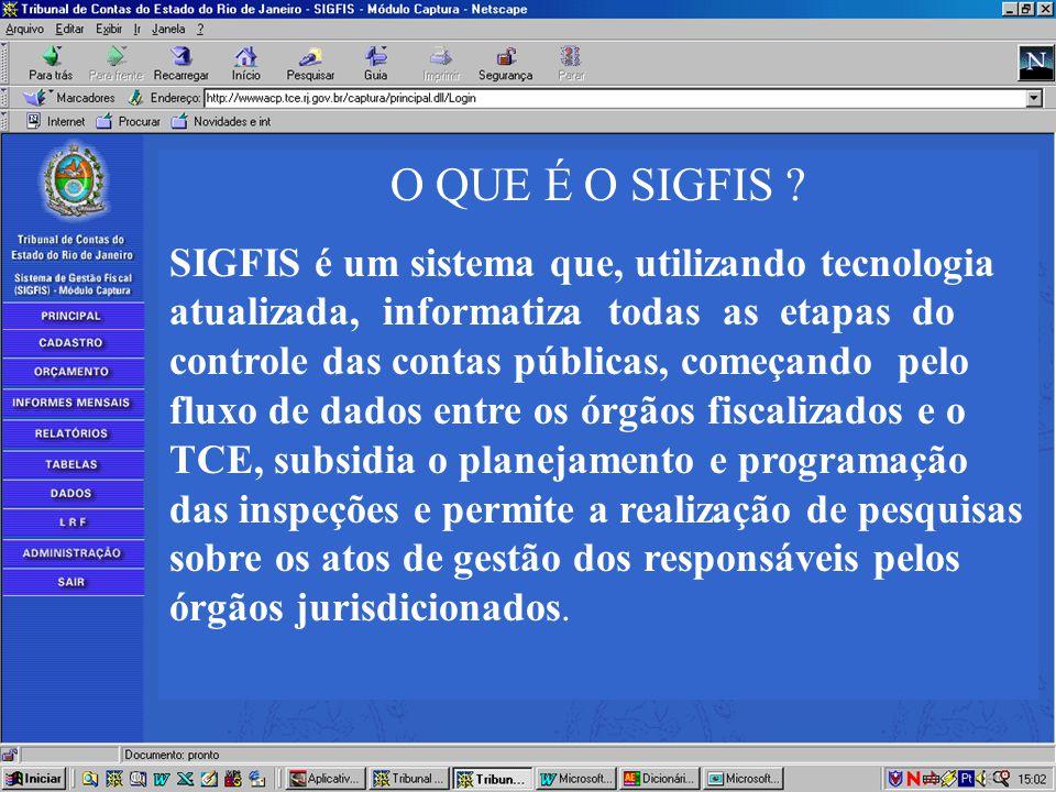 O QUE É O SIGFIS ? SIGFIS é um sistema que, utilizando tecnologia atualizada, informatiza todas as etapas do controle das contas públicas, começando p