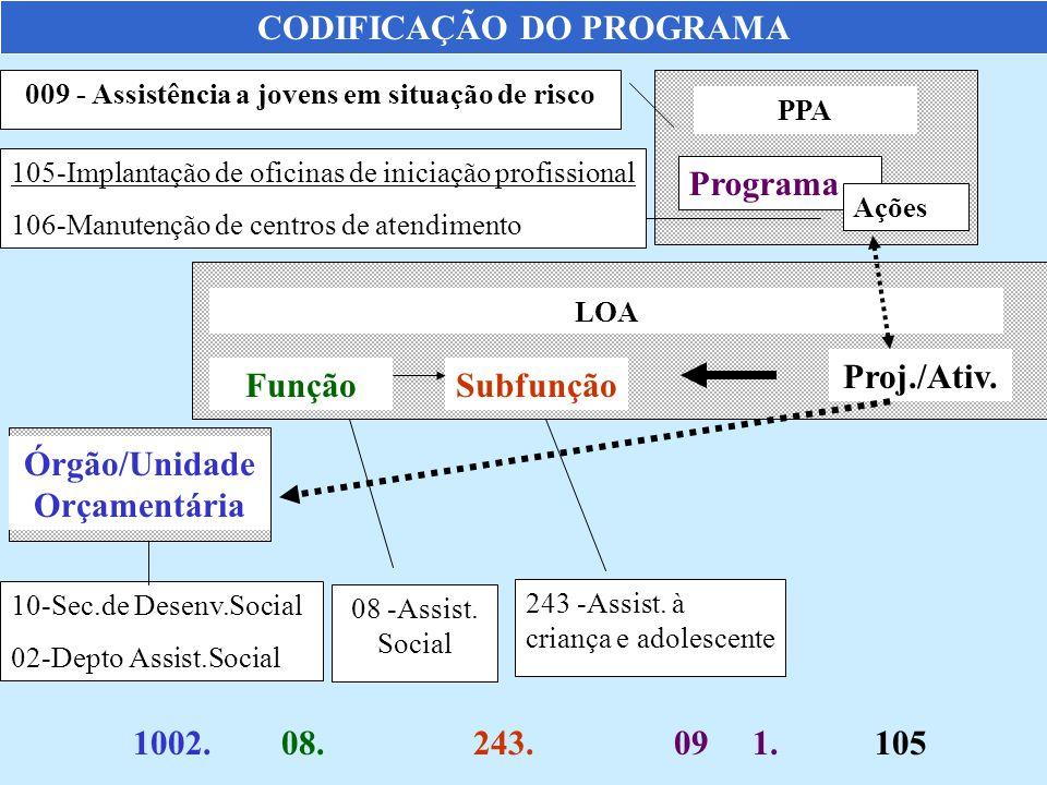 CODIFICAÇÃO DO PROGRAMA PPA Programa LOA FunçãoSubfunção Proj./Ativ. Ações Órgão/Unidade Orçamentária 009 - Assistência a jovens em situação de risco
