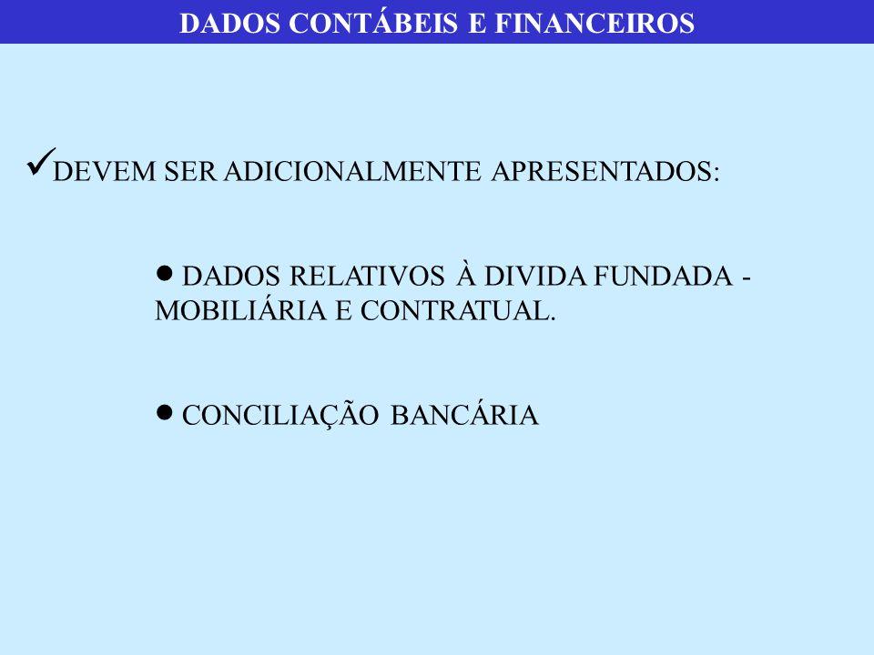 DADOS CONTÁBEIS E FINANCEIROS  DEVEM SER ADICIONALMENTE APRESENTADOS:  DADOS RELATIVOS À DIVIDA FUNDADA - MOBILIÁRIA E CONTRATUAL.  CONCILIAÇÃO BAN